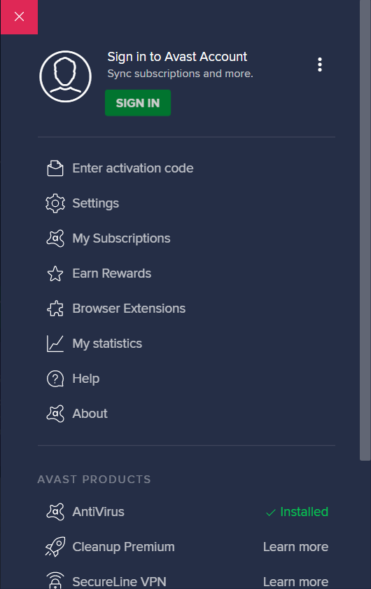 avast dashboard