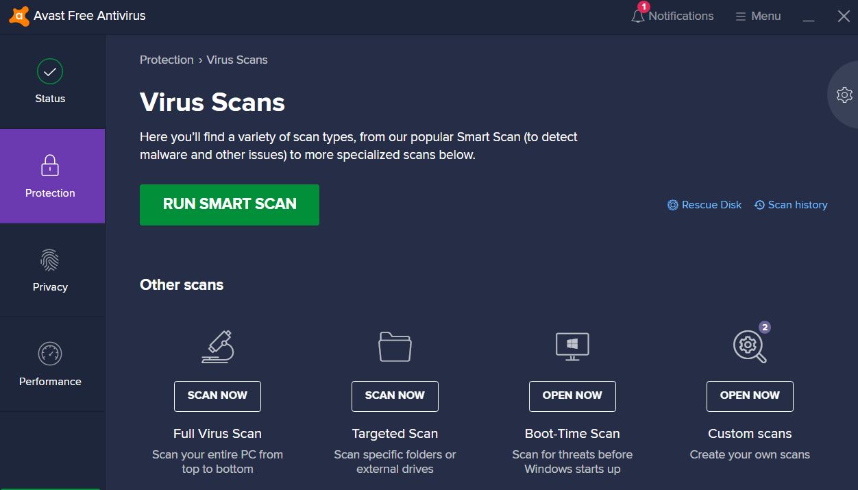 avast free version virus scan example